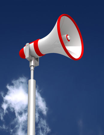 cloudy sky: megaphone and cloudy sky 3d concept illustration