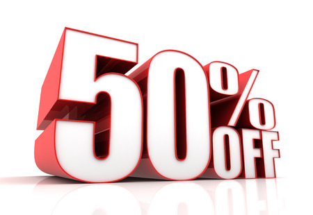 off white: fifty percent off sale 3d illustration isolated on white background