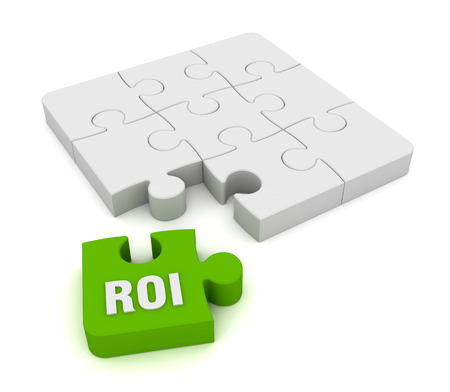 investmen: roi puzzle 3d illustration isolated on white background Stock Photo