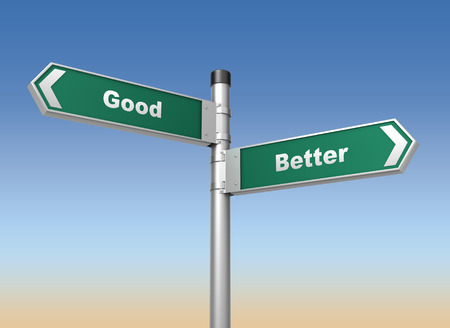 better: good better road sign 3d concept illustration on sky background Stock Photo
