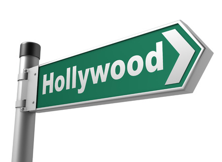 boulevard: hollywood road sign 3d concept illustration on white background Stock Photo