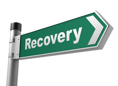 road to recovery: recovery road sign 3d concept illustration on white background