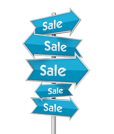 placards: sale placards 3d illustration isolated on white background