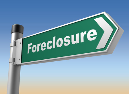 economic depression: foreclosure road sign 3d concept illustration on sky background