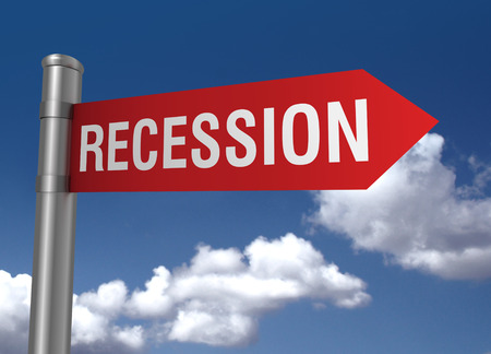 debt management: recession road sign 3d concept illustration on sky background