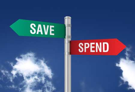 spend: save spend road sign 3d concept illustration on sky background Stock Photo
