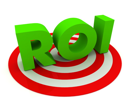 rate of return: return on investment - roi 3d illustration isolated on white background Stock Photo