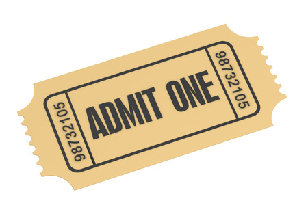 admit one: ticket admit one 3d illustration isolated on white background