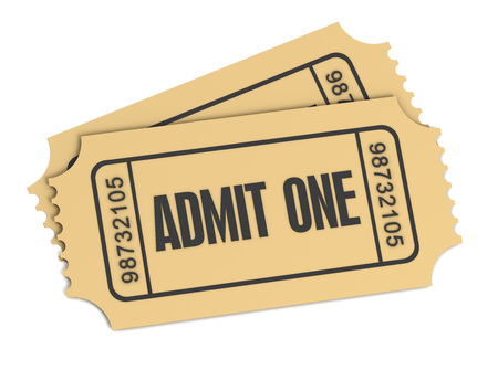 admit: ticket admit one 3d illustration isolated on white background