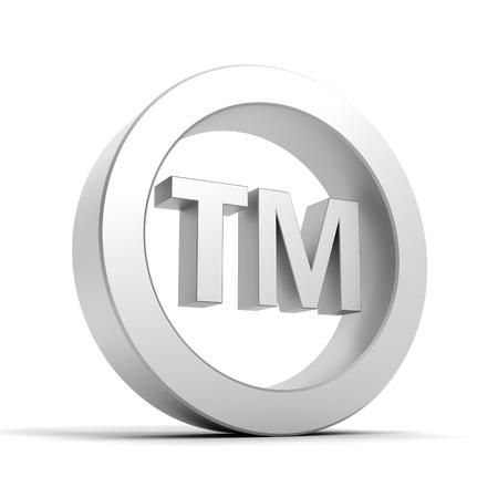 tm: tm trade mark sign 3d illustration isolated on white background Stock Photo