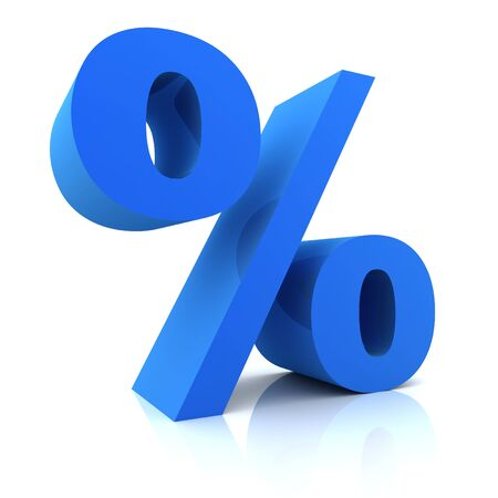 the percentage: 3d Percentage sign isolated on white  background