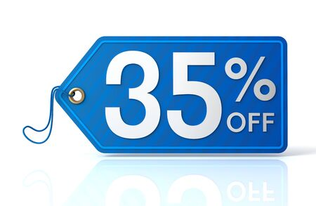 35: 3d illustration of 35% discount tag isolated on white  background
