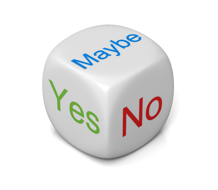 ja nee misschien kubus 3D-afbeelding op een witte achtergrond