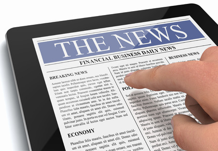 touchpad: tablet news 3d illustration isolated on white background
