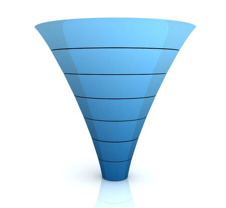 separating funnel: seperating funnel graph 3d illustration isolated on white background