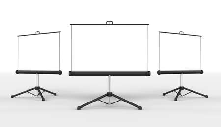 projection screens 3d illustration isolated on white background