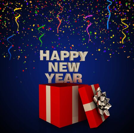 year 3d: gift box with happy new year 3d illustration Stock Photo