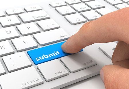 submit keyboard 3d illustration isolated on white background Stock Photo