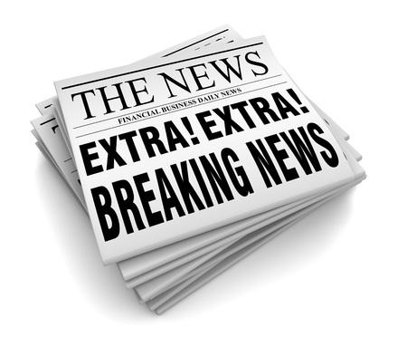 broadsheet: newspaper 3d illustration isolated on white background Stock Photo