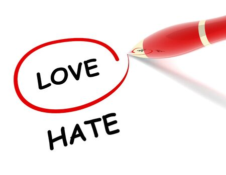 contradiction: love hate 3d illustration isolated on white background Stock Photo