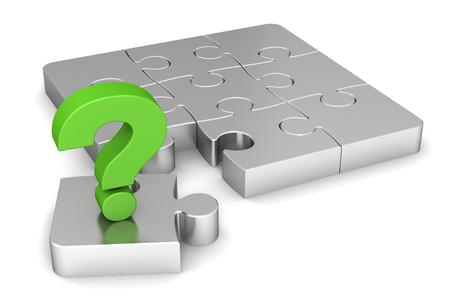 Frage Puzzle 3D-Darstellung auf weißem Hintergrund Standard-Bild
