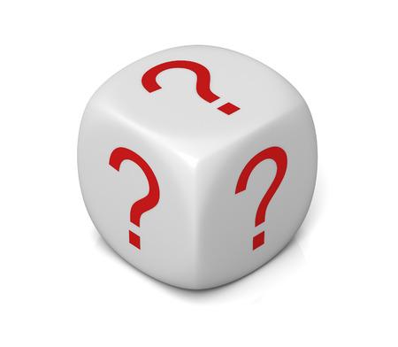 白い背景で隔離の質問キューブ 3 d イラスト 写真素材