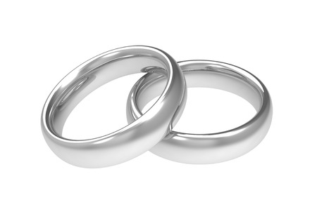 silver wedding rings 3d illustration isolated on white background