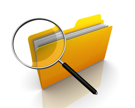 directory: folder or file search 3d illustration isolated on white background