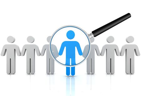 inquire: searching person 3d illustration isolated on white background Stock Photo