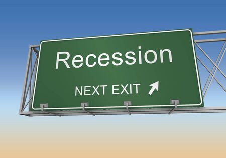 recession: recession road sign 3d concept illustration on white background