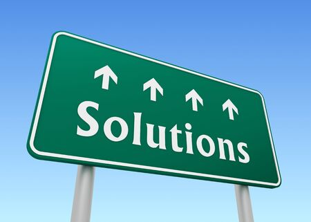 complex navigation: solutions green road sign 3d concept illustration Stock Photo