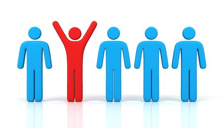 Man standing out from the crowd 3d illustration isolated on white background