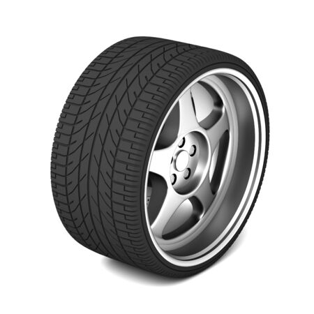 low tire: car tire 3d illustration isolated on white background