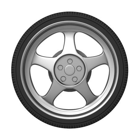car brake: car tire 3d illustration isolated on white background