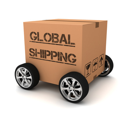 unbuttoned: global shipping cardboard box 3d illustration isolated on white background