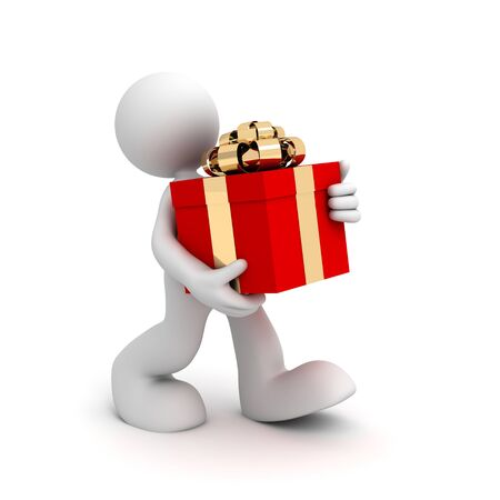 man carrying box: Man carrying gift box 3d illustration isolated on white background