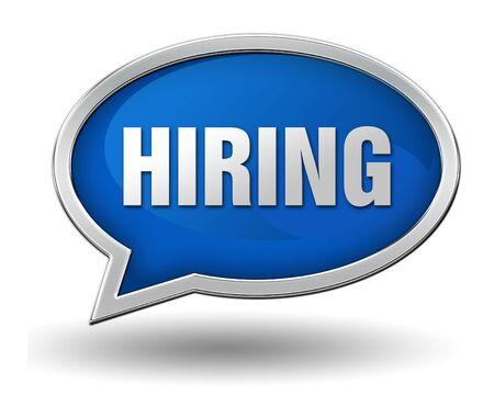 hiring badge 3d illustration isolated on white  background Stock Photo