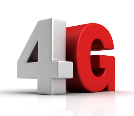 modernity: 3d image of 4G text isolated on white  background Stock Photo
