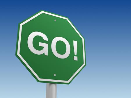 go sign: go sign 3d illustration on sky  background Stock Photo