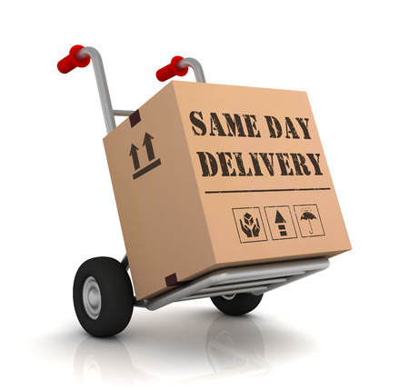 same day delivery 3d illustration isolated on white background