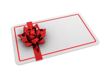blank gift card 3d illustration isolated on white background Stock Photo