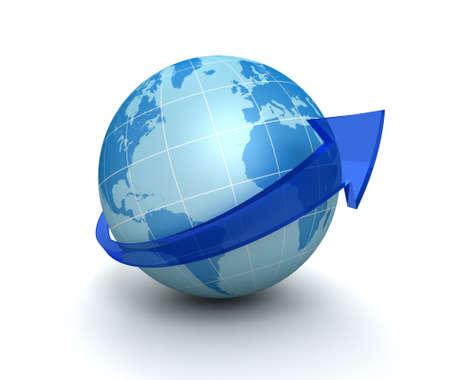 directing: globe surrounding arrow 3d illustration isolated on white background Stock Photo