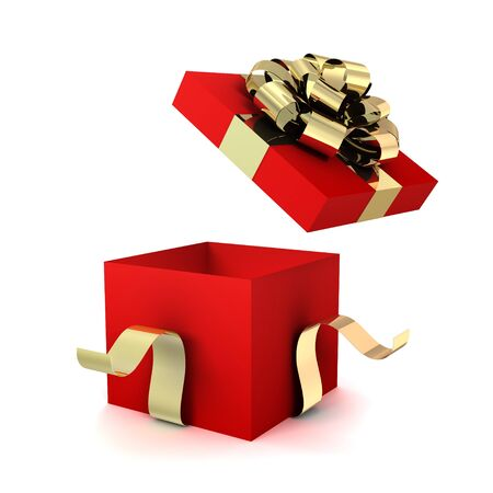 opened gift box 3d illustration isolated on white background