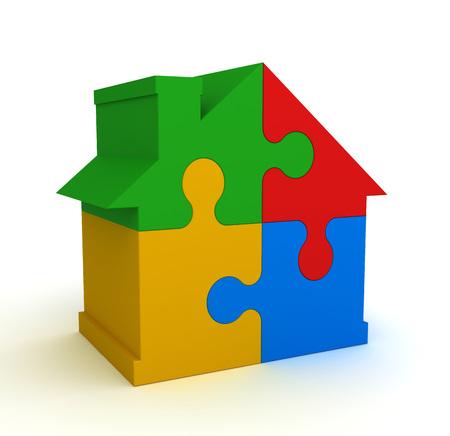 estate planning: house puzzle 3d illustration isolated on white background Stock Photo