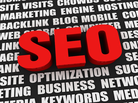 keywords: big red seo word and related keywords 3d illustration