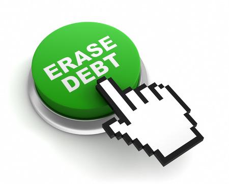 erase: erase debt button 3d illustration isolated on white background