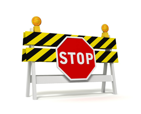 career entry: stop prohibited barrier 3d illustration isolated on white background
