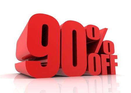 ninety: ninety percent off sale 3d illustration isolated on white background Stock Photo