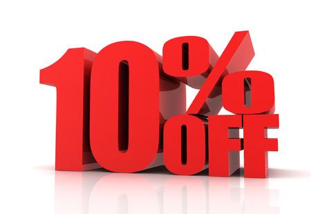numero diez: diez por ciento de la venta 3d aislado en el fondo blanco Foto de archivo