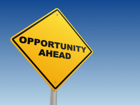 opportunity concept: opportunity yellow road sign 3d concept illustration Stock Photo